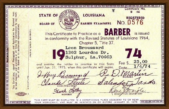 image barber license certificate